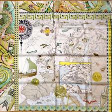 "Hermes Scarf Le Voyage De Pytheas by Aline Honore 90 cm Silk Carre Shawl 35"""