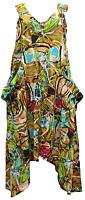 Lagenlook V Neck Tunic Dress Boho Hippie Beach Kaftan Size 16 18 20 22 24 26