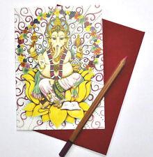 Ganesh Hindu Greetings birthday card drawn and printed in the UK