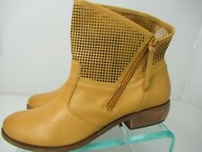Fergie Womans Footwear MANTRA Leather Short Zipper Boots Corn Yellow Size 9.5M