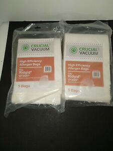 10 Replacements Ridgid VF3501 3-4.5 Gallon Wet/Dry Vacuum Bags Part # VF3501