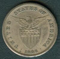 1908-S US Philippines 1 Peso United States of America Silver Coin - Stock #F17