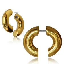 PAIR BRASS FAKE COIL SPIRAL PLUGS CHEATER EARRINGS HOOPS EXPANDERS GAUGES SILVER