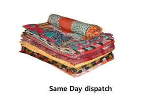 Wholesale Lot 20pc Kantha Quilt Indian Vintage Handmade Reversible Throw Blanket