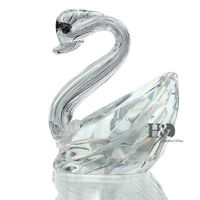 Clear 3D Cut Crystal Paperweight Animals Facet Swan Figurines Glass Wedding Gift