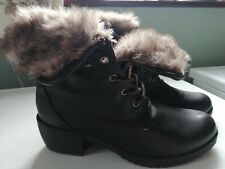 Ladies Brown lace up fur Boots by Pavers size 3/36 rrp £69!