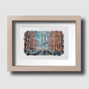 New York Manhattan Overcast Bridge Watercolour Wall Art Print Picture Unframed