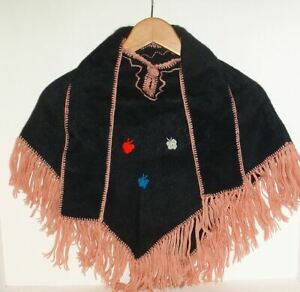 NEW! Warm Alpaca Wool Poncho Cape Fringed For Kids Ages 3 - 6