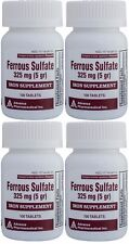 Ferrous Sulfate Iron 325 mg Generic for Feosol 100 Tablets per Bottle Pack of 4