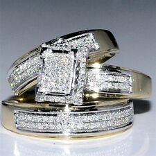 Diamond Wedding Yellow Gold Over Trio His & Her Bridal Band Engagement Ring Set