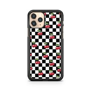 Black White Checkered Squares Check Cherries Fruit Pattern Phone Case Cover