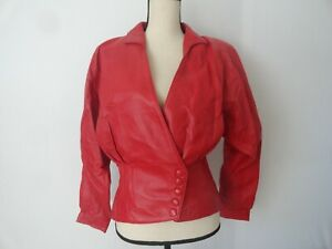 VINTAGE 80'S RED LEATHER NEW WAVE CROPPED JACKET BY WILSONS