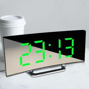 Large LED Electric Digital Alarm Clock Loud USB/Battery Mains Mirror Durable