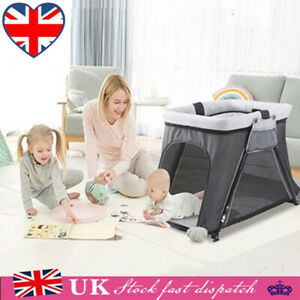 Portable Infant Baby Travel Crib Cot Folding Bassinet Bed with Mattress