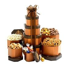 Chocolate Snacks Cookies Nuts Pretzels Popcorn Gift Tower Box Basket Fun Holiday
