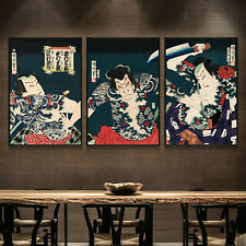 Set 3 Art Canvas Tattoo Samurai Ukiyoe Japanese Paint poster Decor Unframed P98
