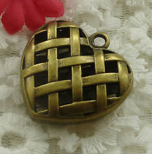 free ship 7 pieces bronze plated heart pendant 36x35mm #2301