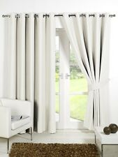 Pair of Cream 90'' x 54'' Supersoft Blackout Thermal Ring Top Eyelet  Curtains