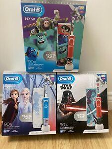 Oral B Kids Electric Toothbrush disney Star Wars Frozen pixar Travel Case New