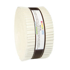"Kaufman Kona Cotton Solids Snow Roll Up 2.5"" Fabric Quilt Strips Jelly RU-189-40"
