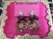 Betsey Johnson Vintage Clear Yellow Lucite Pansy Flower Black Bow Earrings RARE