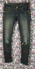G Star Raw Denim Women's Green Skinny Slim Jeans Size W27 L30 PreOwned