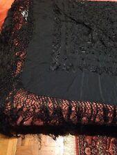 Hand Embroidered Antique Vintage Rose Black Silk Fringed Pianno Wrap Shawl