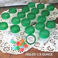 12 Tiny Pill Bottles Plastic JARS Green Clear Caps .50 OZ  3304 DecoJars USA