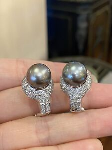 Pave Diamond and Black South Sea Pearl Earrings in 14k White Gold - HM1669I