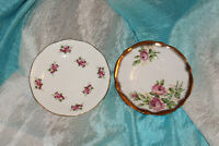 Vintage Lot of 2 Queen Anne Elizabethan Bone China Saucers Made in England Roses