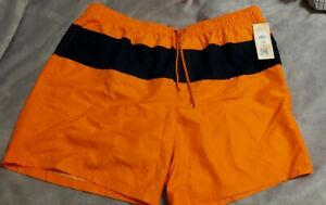 OP Big Mens 3X (48-50) Lined Swim Trunks Pockets Navy Blue/Orange NWT Drawstring