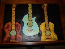 Music Studio Art: Three Guitars, Original oil painting.  Mint condition.