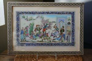 Vintage Folk Art Miniature Painting PERSIAN KHATAM MARQUETRY Mosaic Frame