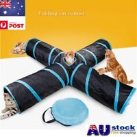 Pet Cat Kitten Puppy Tunnel Play Toy 4 WAY Foldable Exercise Tunnel Funny Toy OZ