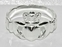 Sterling Silver Chunky CLADDAGH Ring - Celtic Shoulders - Heavy - Men's / Gent's