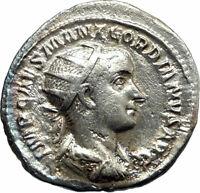 GORDIAN III 238AD Authentic Silver Ancient Roman Coin Providentia i76219