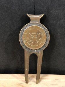 Vintage Golf Design Brass Divot Tool Money Clip Golf Ball Patent 774729