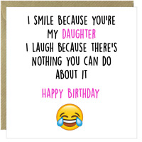 Funny Happy Birthday Daughter Rude Humour Comic Amusing Greetings Card Square /R