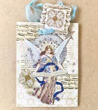 Punch Studio Sm Gift Bag 3D Embellished Vintage Angel Music + Tissue