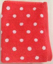 NWT CYNTHIA ROWLEY 2 PINK/WHITE POLKA DOT COTTON HAND TOWELS SET