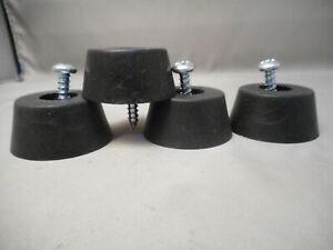 Set Of 4 Large HD Rubber Feet For Generators, Spkr Cabs, Amps Etc & 4 Mtg Screws