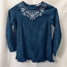 Lands End Girls blue denim chambray cotton white embroidered ruffle dress size 8