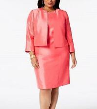 LE SUIT® Plus Size 20W Open Front Shantung Jacket & Dress Suit NWT $240