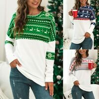 Womens Long Sleeve Christmas Sweater Xmas Sweatshirt Jumper Winter Pullover Tops