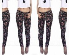 Miss Me Jeans Black Floral Cargo Ankle Skinny Pants Size 27