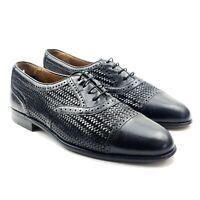 Mezlan Martinique Black Leather Woven Cap Toe Oxford Dress Shoes Sz 9 M 42 UK 8