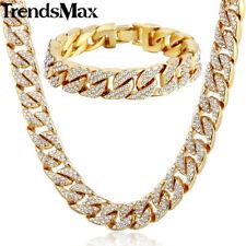 Iced Out Set Cuban Chain 76cm Bracelet Diamond Necklace Shiny Mens Jewellery