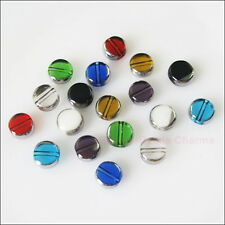 20Pcs Mixed Silver Edge Glass Round Flat Spacer Beads Charms 8mm