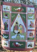 Christmas Nativity Holy Family  Quilted throw 49x59