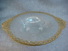 Clear Footed Glass Bowl Ornate Ormalu Floral Bird Pattern Gold Filigree